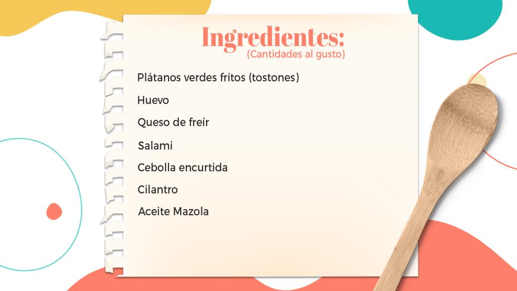 Ingredientes patacón con fritos de plátano dominicano